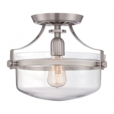 PENN - Station Semi Flush in Stainless Steel, Clear
