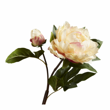 PEONY - Peach With Bud Faux Home Flower