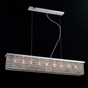 PIAZZA Rectangular Flush Ceiling Light/Ceiling Pendant Chrome and Crystal