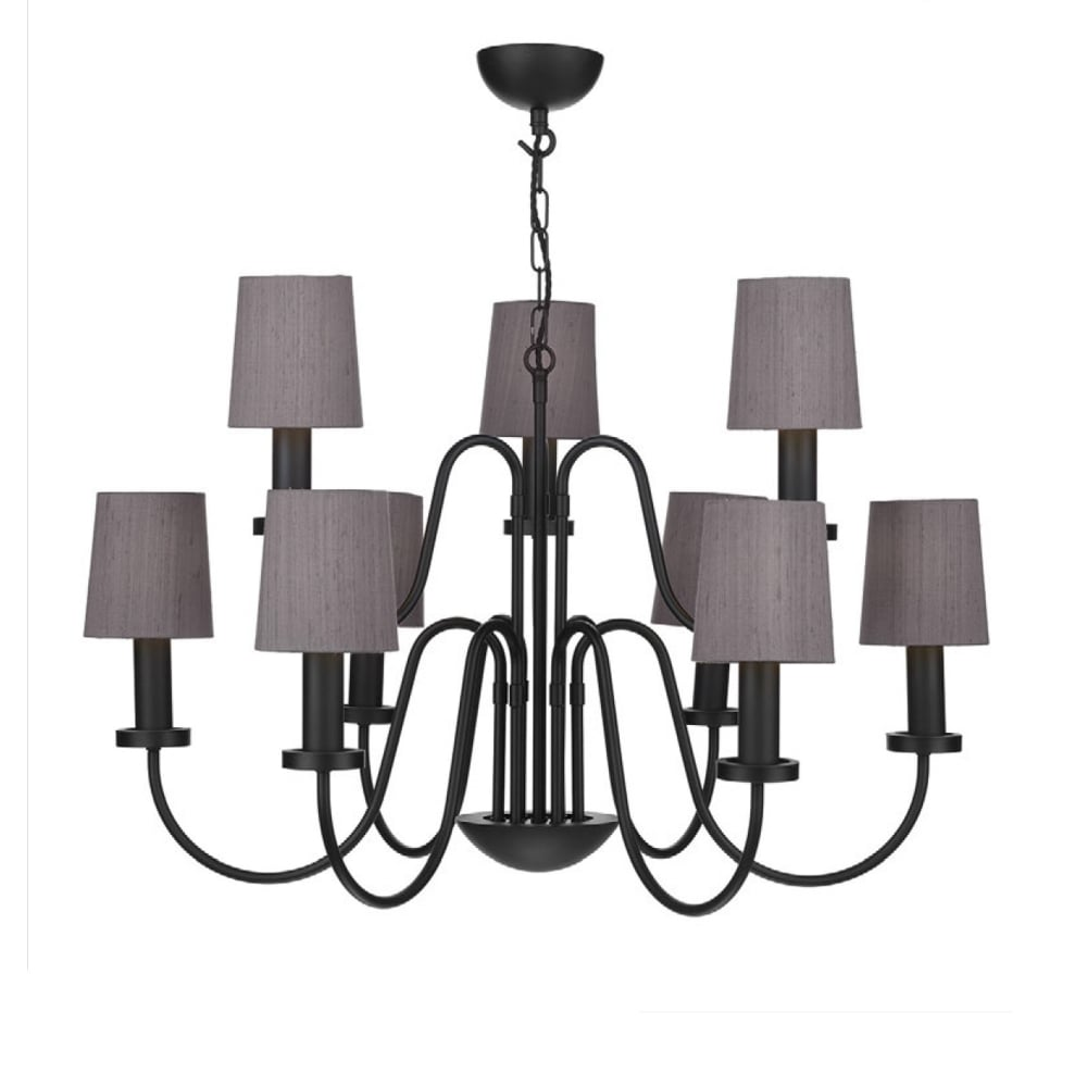 Pigalle 9 Light Chandelier Black With Shades