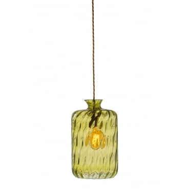 PILLAR - Bottle Hanging Ceiling Pendant With Olive Dimpled Glass