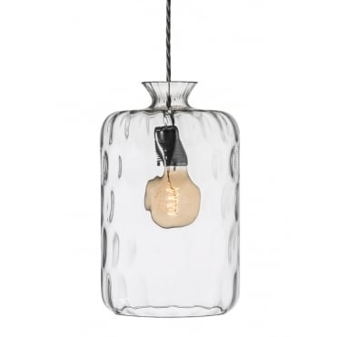 PILLAR - Clear Dimple Glass Ceiling Pendant With Silver Cable