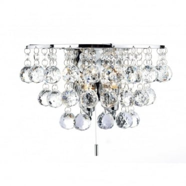 PLUTO - Chrome Crystal Double Insulated Wall Light , Switched