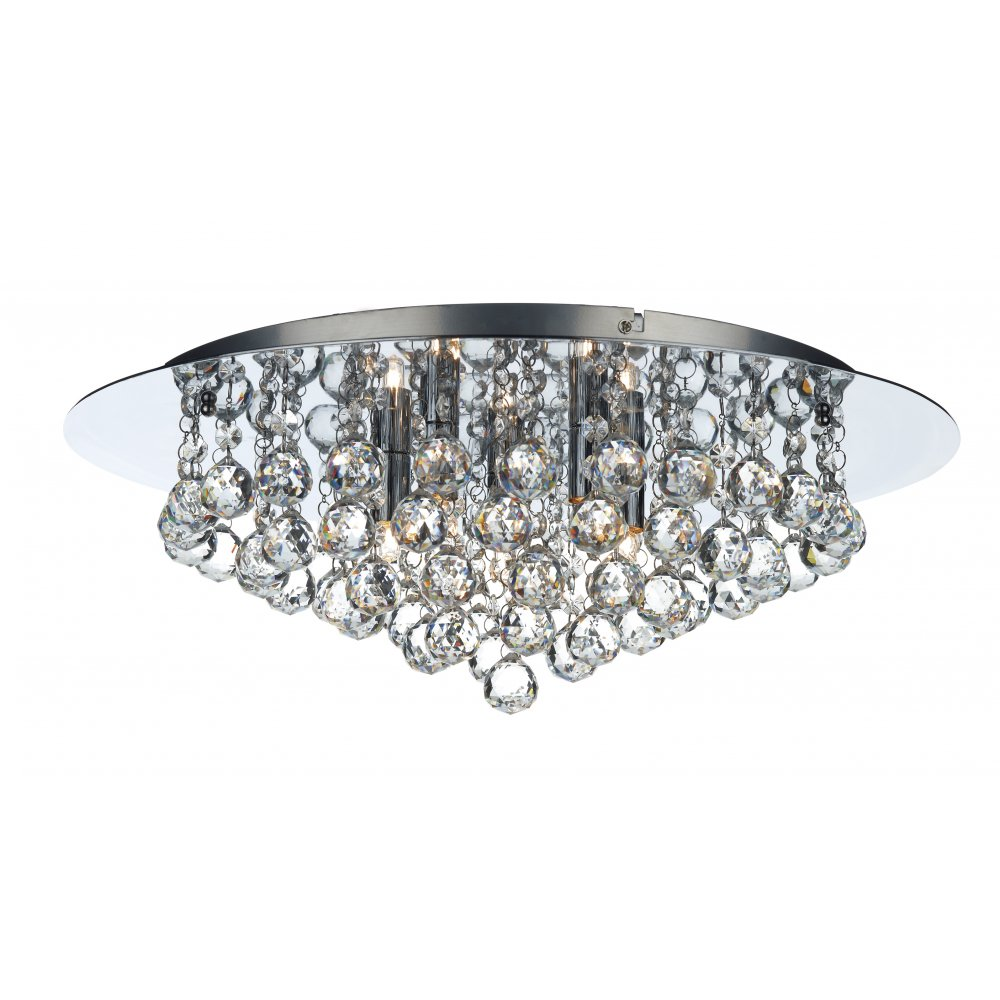 Pluto large chrome crystal chandelier for low ceilings