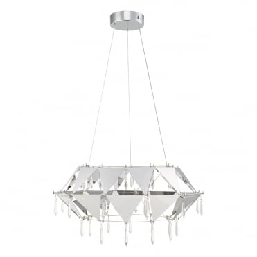 POTENZA Modern LED Geometric Pendant Polished Chrome and Crystal Drops