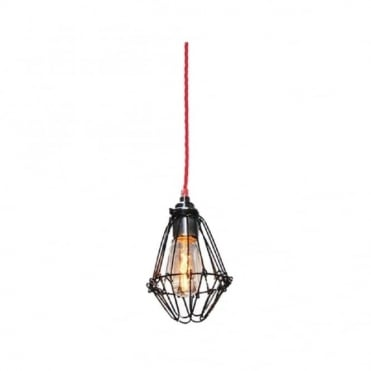 PRAIA - Black Industrial Cage Ceiling Pendant With Red Flex
