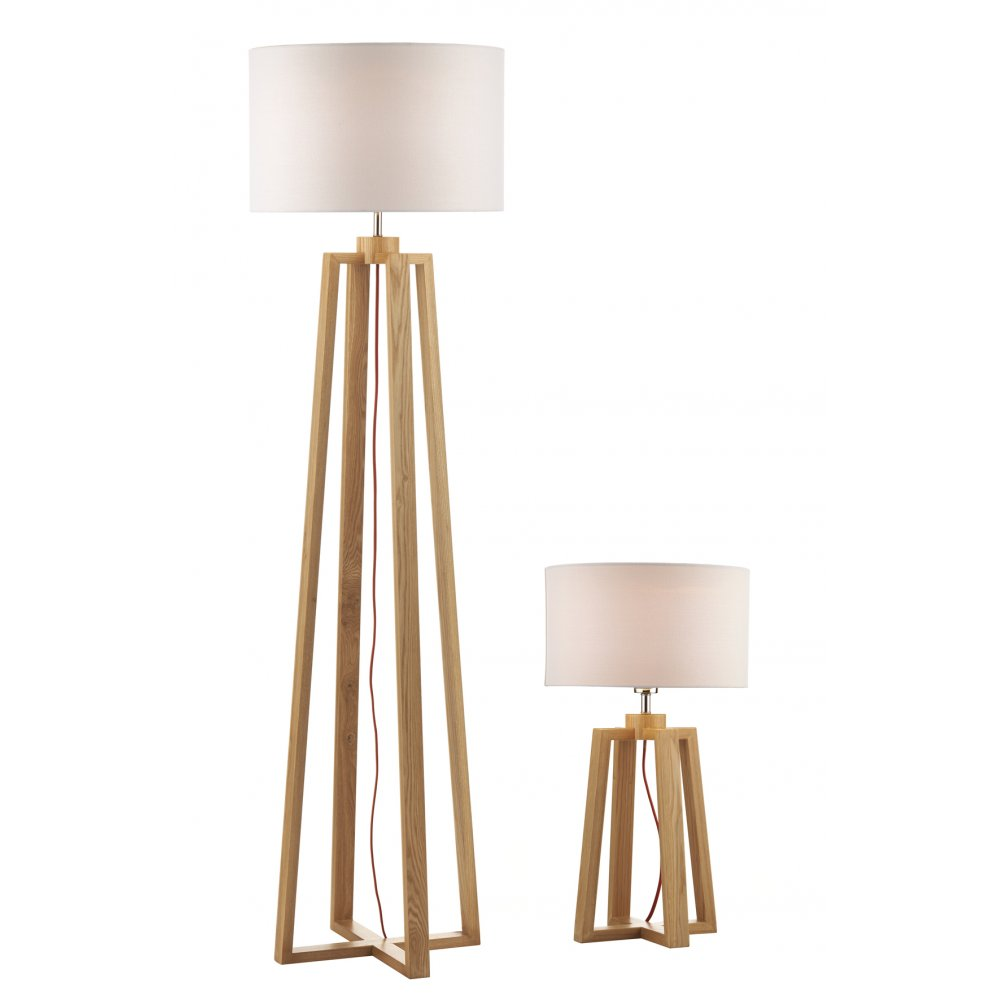Pyramid oak wood table lamp and floor lamp 2 lamps