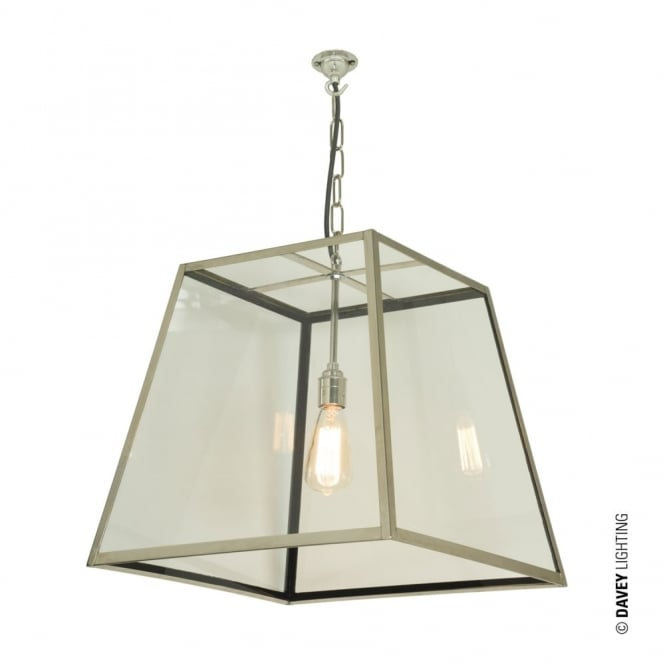 QUAD - Ceiling Pendant Internal Glass Large Polished Nickel Clear Glass