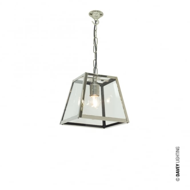 QUAD - Ceiling Pendant Internally Glazed Small Polished Nickel Clear Glass