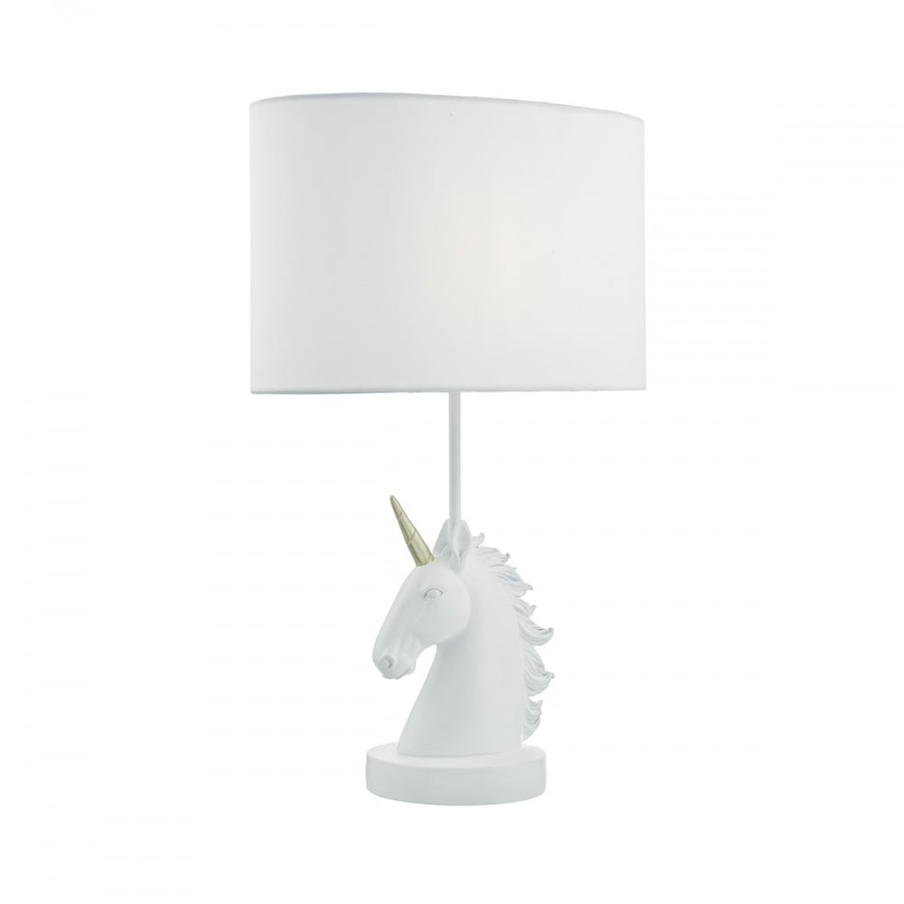 QUILIN   White Unicorn Table Lamp With Shade