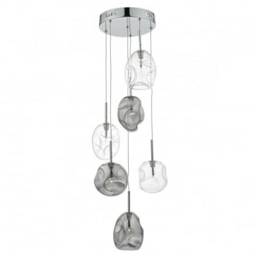 QUINN - 6 Light Ceiling Pendant Cluster With Mouth Blown Smoked And Clear Glass