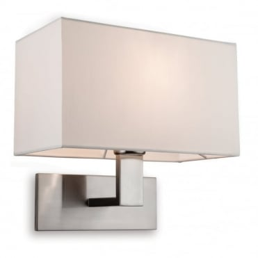 RAFFLES Single Wall Light, Brushed Steel with Cream Shade