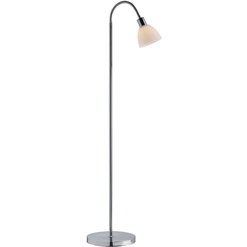 Retro Floor Lamp Chrome and Opal Glass