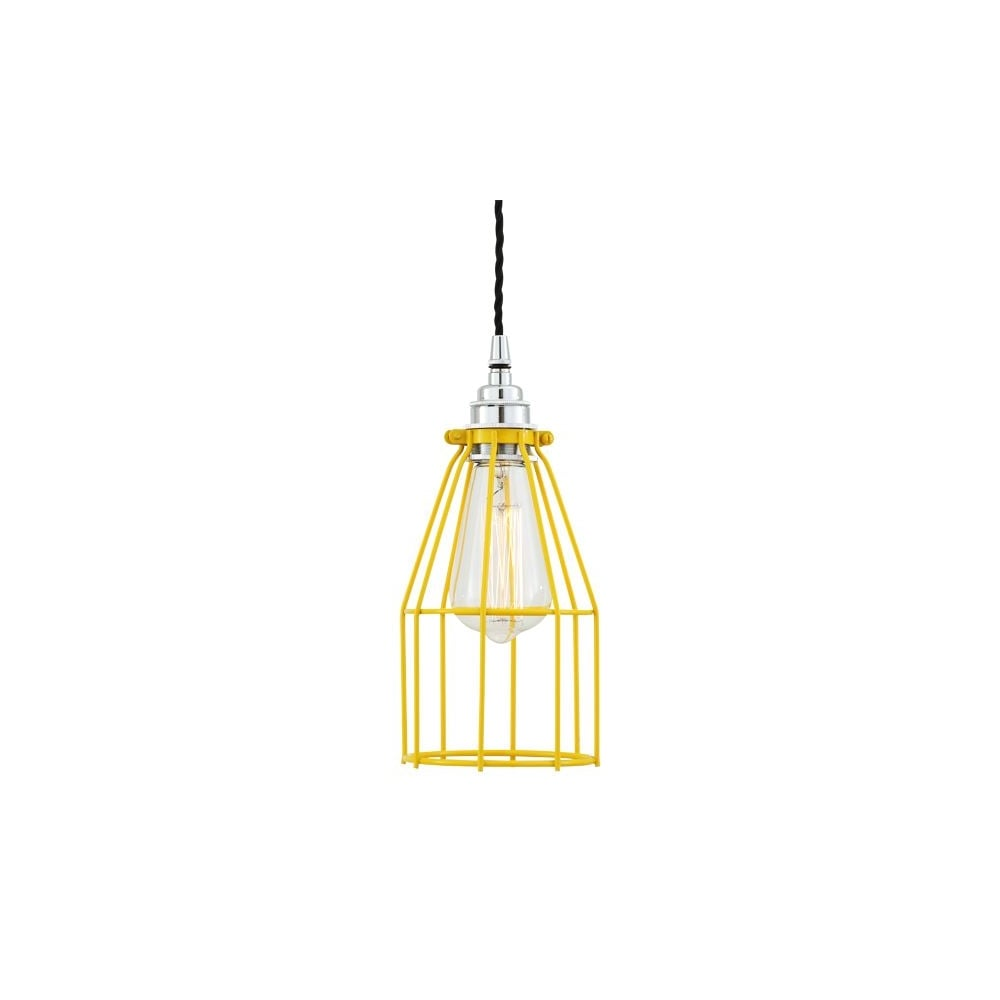 yellow industrial cage light adjustable drop lighting and lights uk