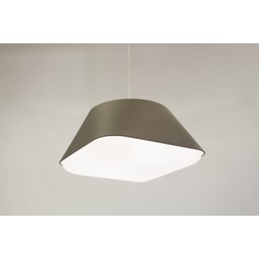 RD2SQ 60 - Large Warm Grey Polyester Shade with Integrated Frosted Acrylic Diffuser