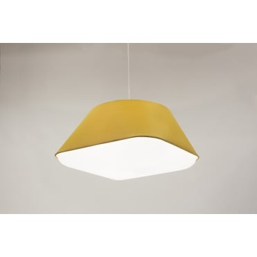 RD2SQ 60 - Large Yellow Ochre Polyester Shade with Integrated Frosted Acrylic Diffuser