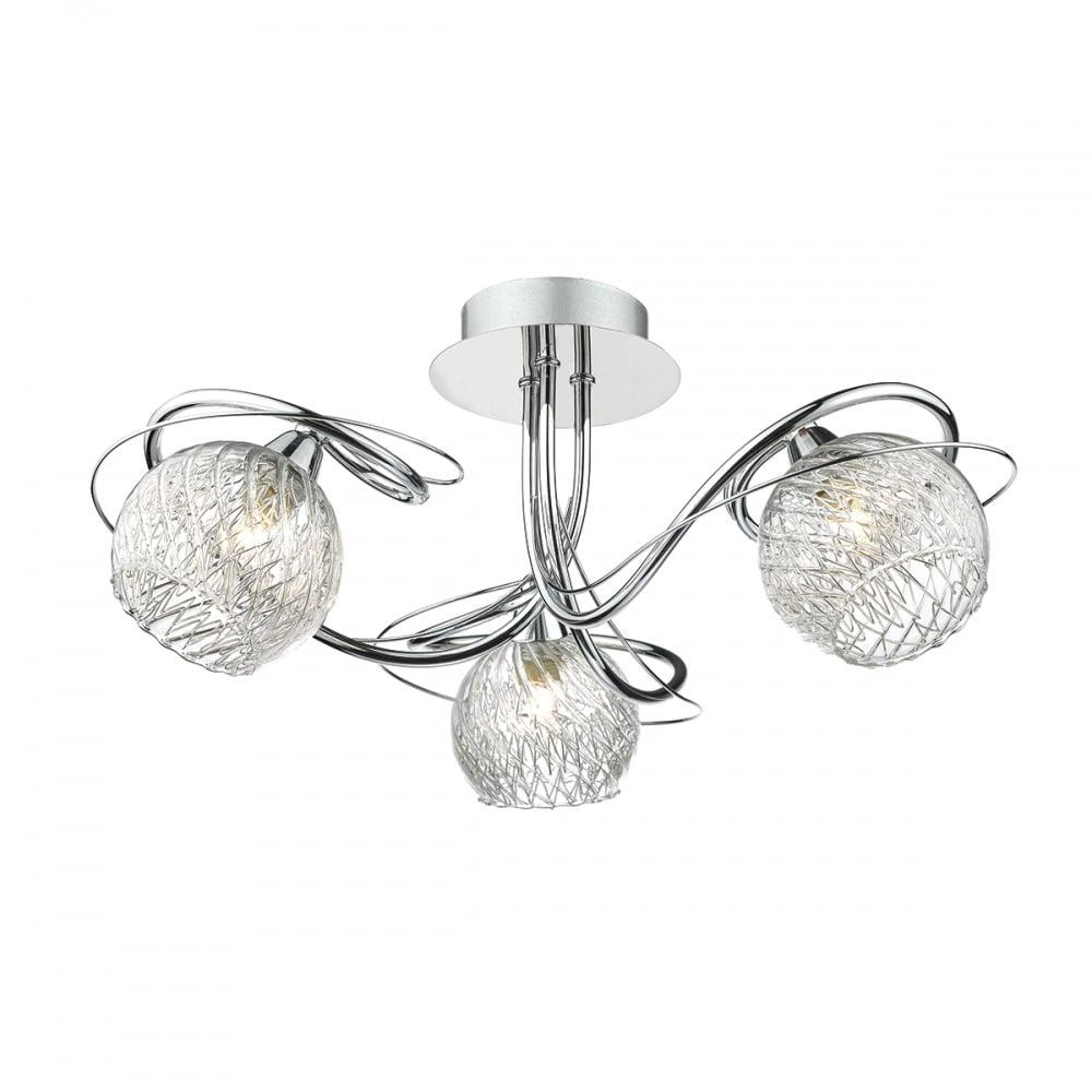 Modern 3 light Flush Ceiling Light Chrome - Lighting and Lights UK