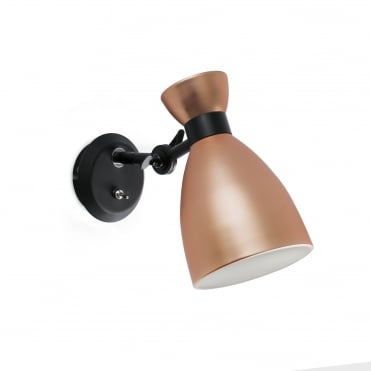 RETRO COPPER 60's Inspired Wall Light with Switch
