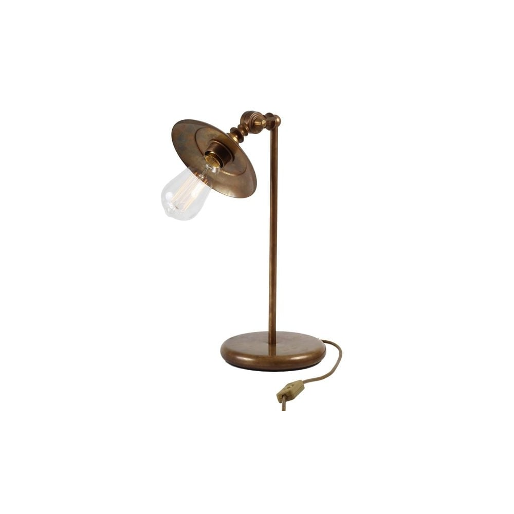Reznor Industrial Table Lamp In Antique Brass