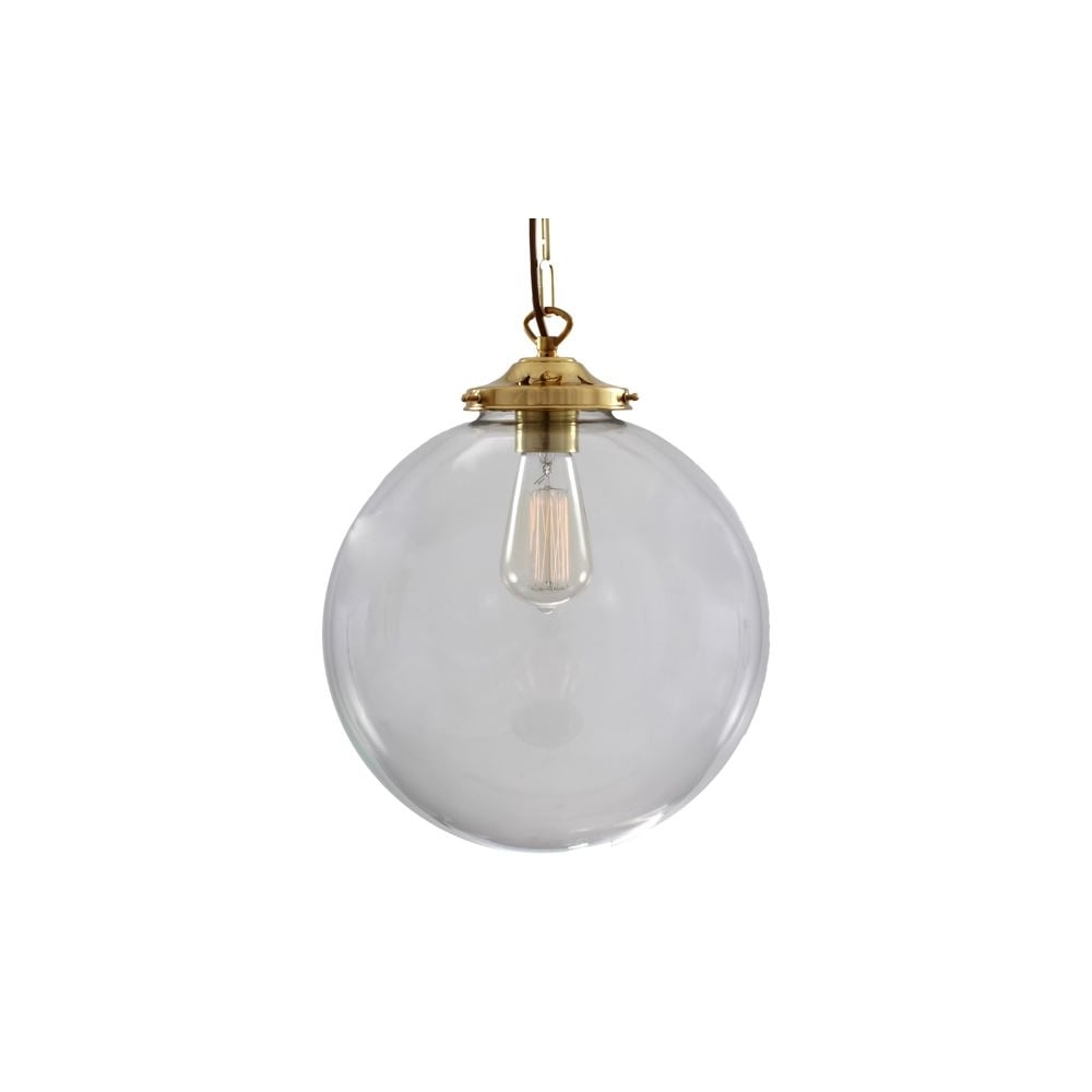 brass globe pendant light. RIAD - 30Cm Clear Globe Ceiling Pendant In Polished Brass Light I