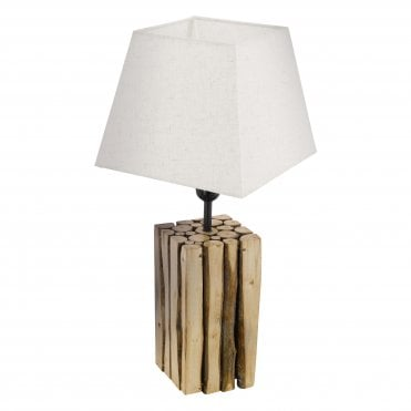 RIBADEO Vertical Wood Rustic Table Lamp Cream Square Tapered Shade