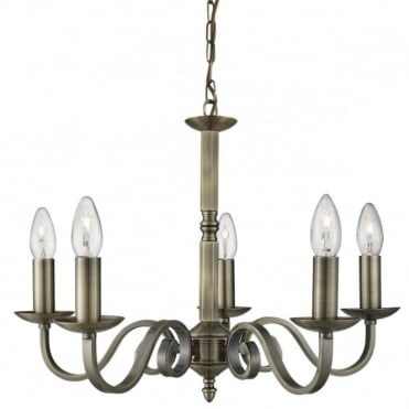 RICHMOND - 5 Light Ceiling Pendant Scroll Arms Antique Brass