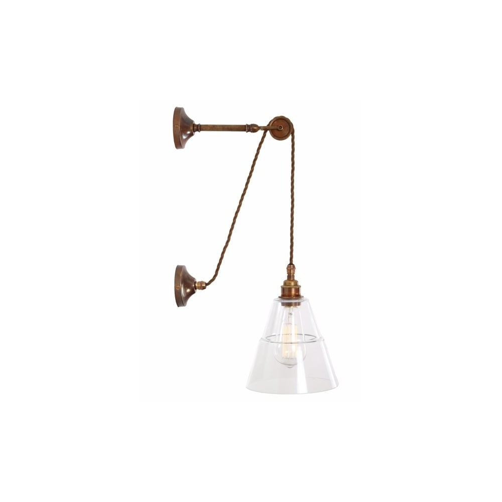 separation shoes 046f4 b209c RIGALE - Coolie Industrial Pulley Wall Light In Antique Brass