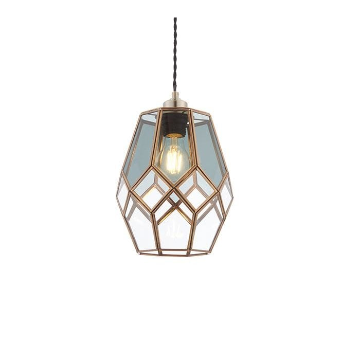 RIPLEY Geometric Glass And Brass Easy Fit Ceiling Shade