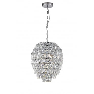 ROBE - Almond Crystal Bathroom Ceiling Pendant in Chrome with LED Bulbs Included