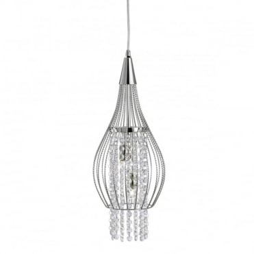 ROCKET - 2 Light Ceiling Pendant In Chrome With Clear Crystal
