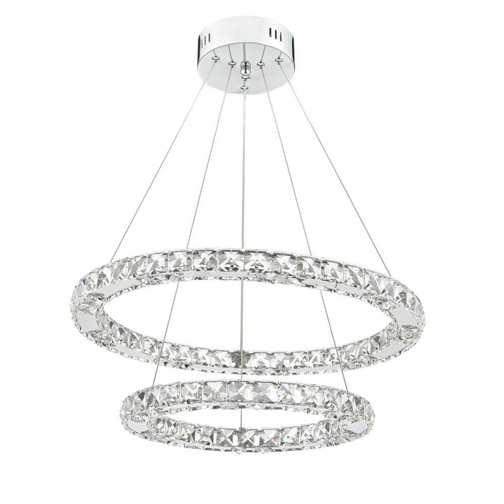 Contemporary led ceiling light 2 hoops lighting and lights uk roma led double tier ceiling pendant crystal polished chrome led dimmable polished chrome aloadofball Image collections