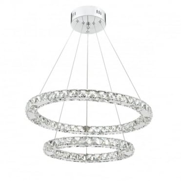 ROMA - LED Double Tier Ceiling Pendant Crystal Polished Chrome LED Dimmable Polished Chrome
