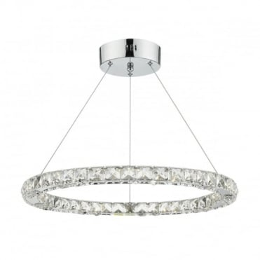 ROMA - LED Single Tier Ceiling Pendant Crystal Polished Chrome LED Dimmable Polished Chrome