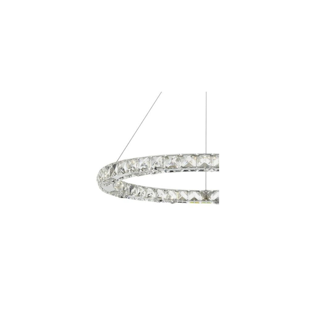 ROMA - LED Single Tier Ceiling Pendant Crystal Polished Chrome LED Dimmable Polished Chrome  sc 1 st  Lighting and Lights! & Contemporary LED Ceiling Light Hoop Chrome - Lighting and Lights UK