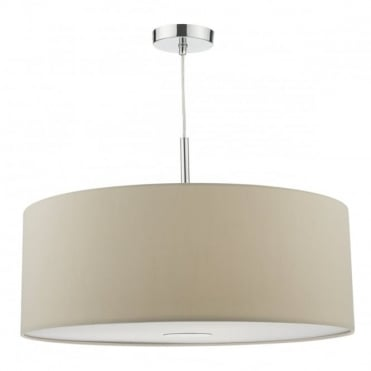 RONDA - 3 Light Ceiling Pendant 60Cm Drum Ecru Faux Silk Taupe
