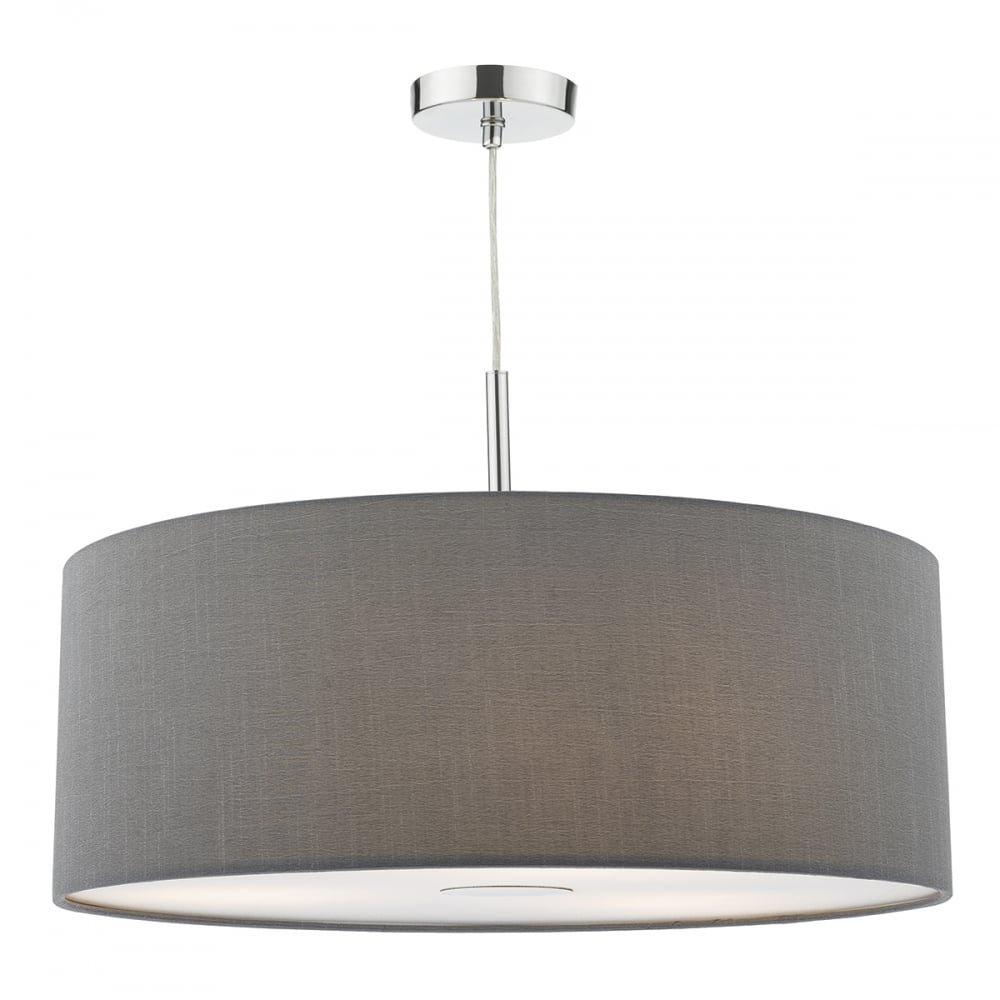 Modern Ceiling Pendant Chrome Dark Grey 60cm Lighting