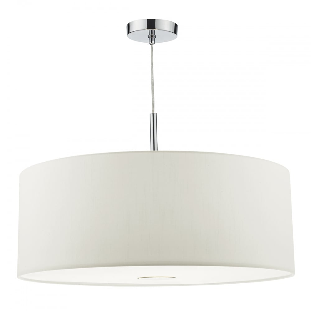 Modern Ceiling Pendant Chrome White 60cm Lighting And