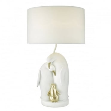 ROOKERY - White and Gold Penguin Table Lamp with Shade