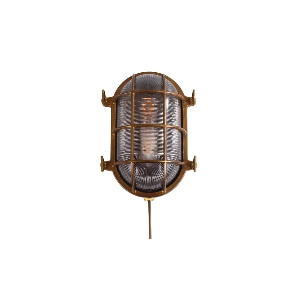Exterior Bulkhead Oval Wall Light Aged Brass Lighting