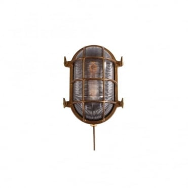 ROSS - Exterior Marine Nautical Oval Bulkhead Wall Light In Antique Brass