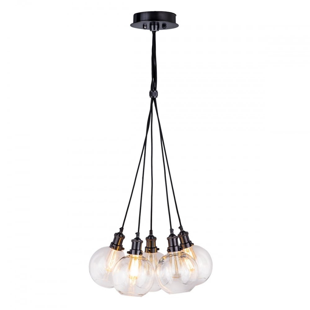 Rouen 5 light black chrome cluster pendant with clear glass globe shades