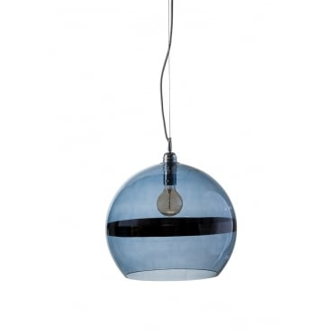 ROWAN - Blue Glass And Blue Stripe Ceiling Pendant With Silver Cable (Large)
