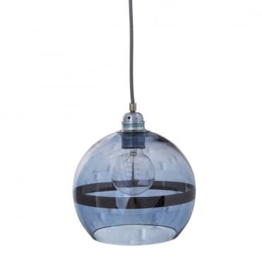 ROWAN - Blue Glass And Blue Stripe Ceiling Pendant With Silver Cable (Mini)