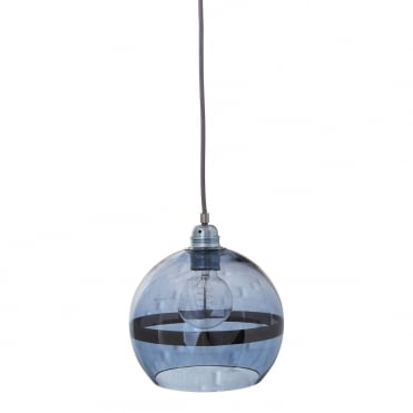 ROWAN - Blue Glass And Blue Stripe Ceiling Pendant With Silver Cable (Small)