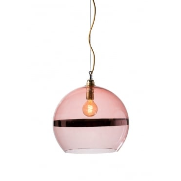 ROWAN - Coral Glass And Coral Stripe Ceiling Pendant With Gold Cable (Large)