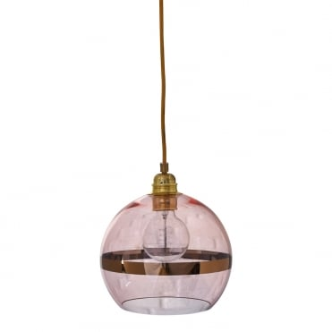 ROWAN - Coral Glass And Coral Stripe Ceiling Pendant With Gold Cable (Small)