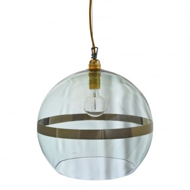 ROWAN - Green Glass And Green Stripe Ceiling Pendant With Gold Cable (Large)