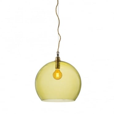ROWAN - Large Transparent Olive Green Glass Ceiling Pendant Light