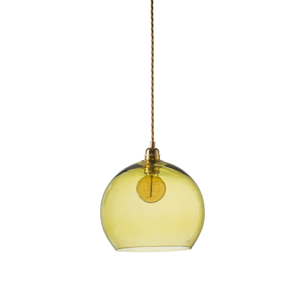 8ffb2a575e79 Globe Zesty Olive Green Glass Pendant Light M Lighting and Lights UK