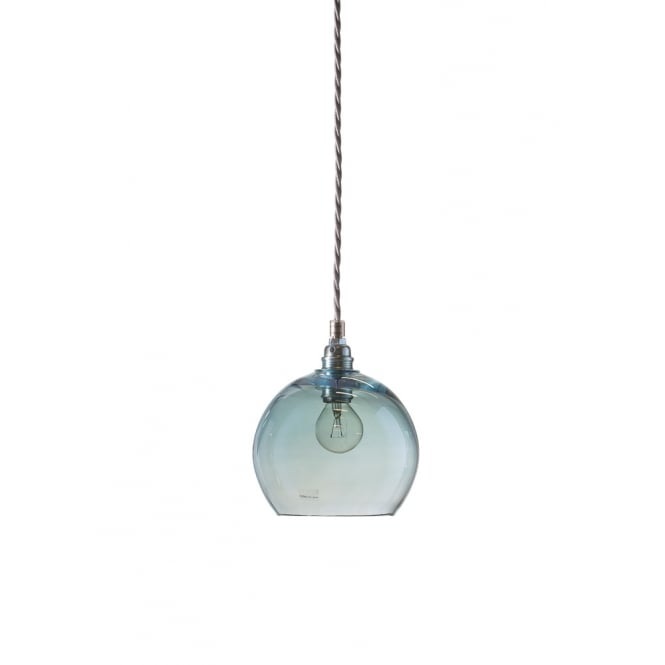 b2d77b3b044f Mouthblown Small Globe Topaz Blue Glass Pendant-Lighting and Lights UK